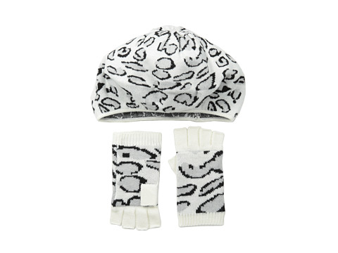 BCBGMAXAZRIA - Leopard Beret And Fingerless Glove Gift Set (Ivory) Beanies
