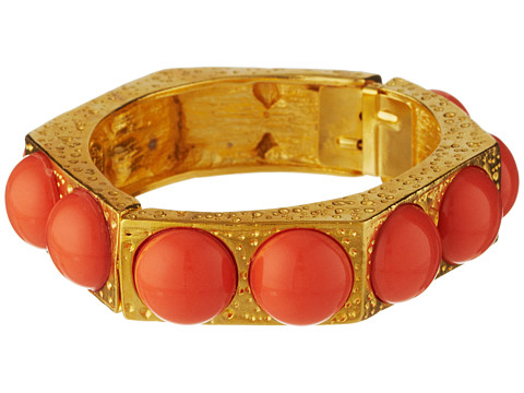 Kenneth Jay Lane - 6680BC (Satin Gold/Coral) Bracelet