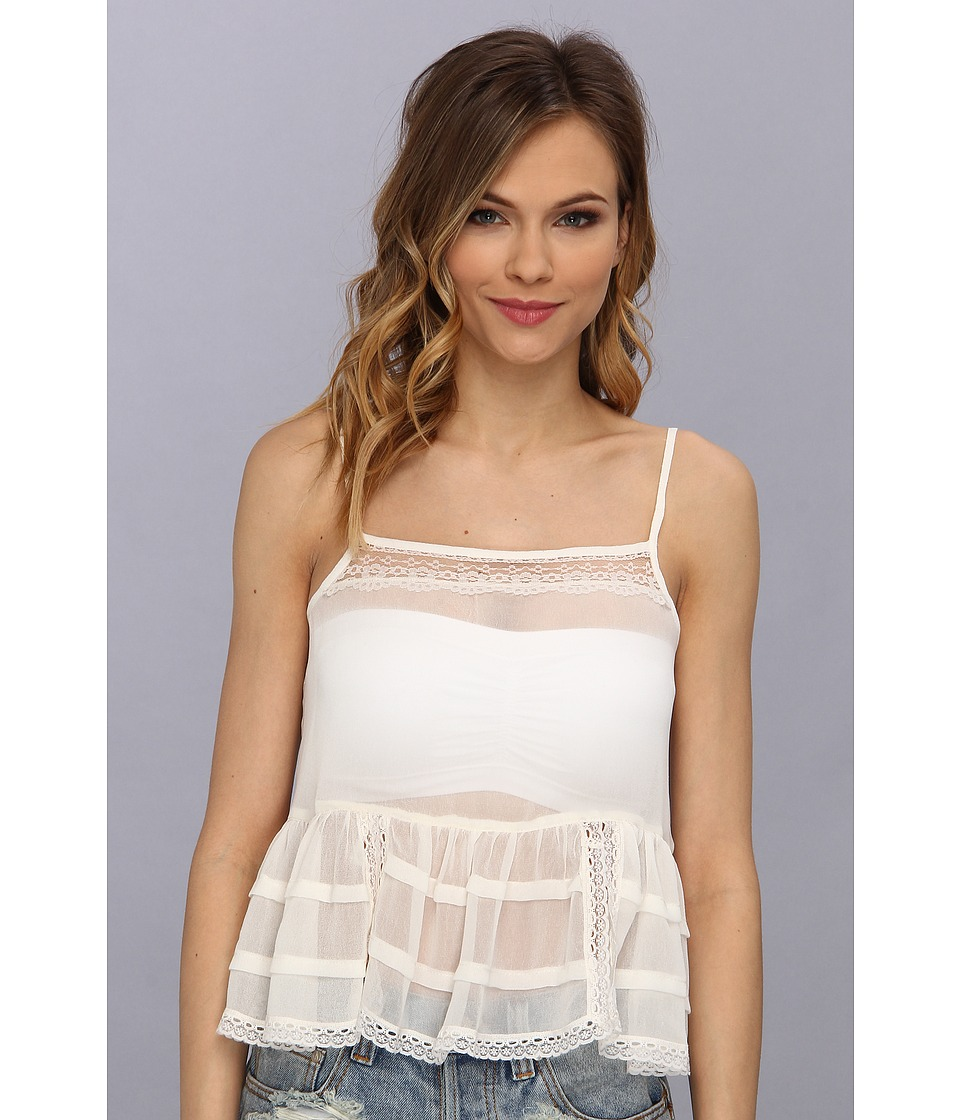 Free People - Ruffle Neck Cami (Parchment) Women's Sleeveless