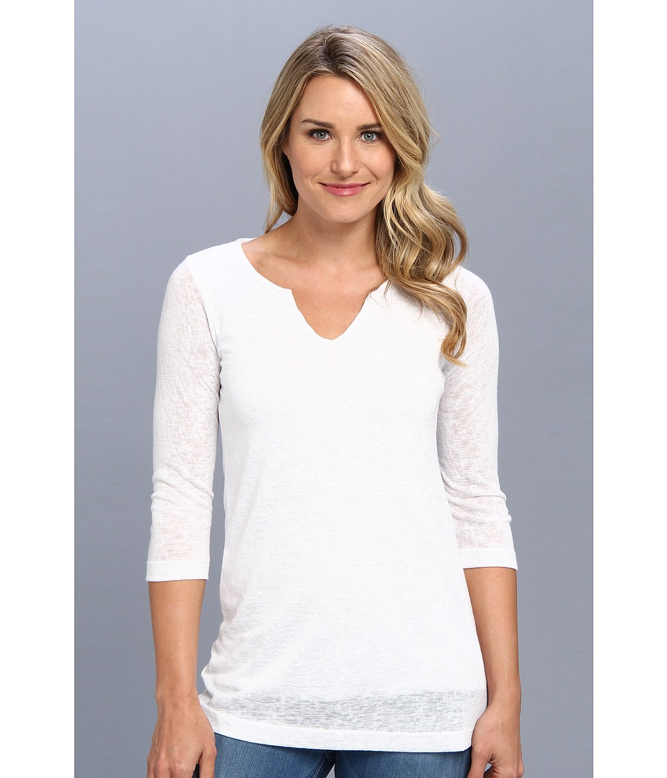 Nally & Millie - 3/4 Sleeve Jewel Neck Tunic (White) Women's Blouse
