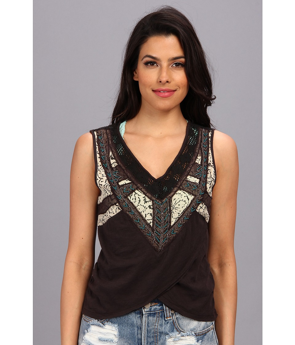 Free People - Sahara Wrap Top (Washed Black) Women