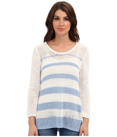 Calvin Klein - Variegated Stripe Pullover (White/Iceburg) Women's Sweater