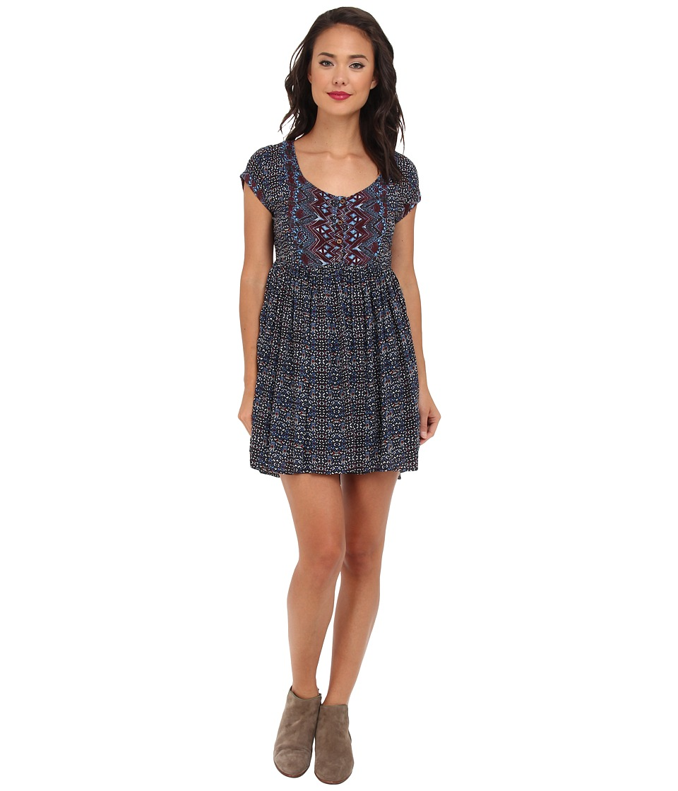 Free People - Sundown Babydoll Dress (Blue Combo) Women's Dress