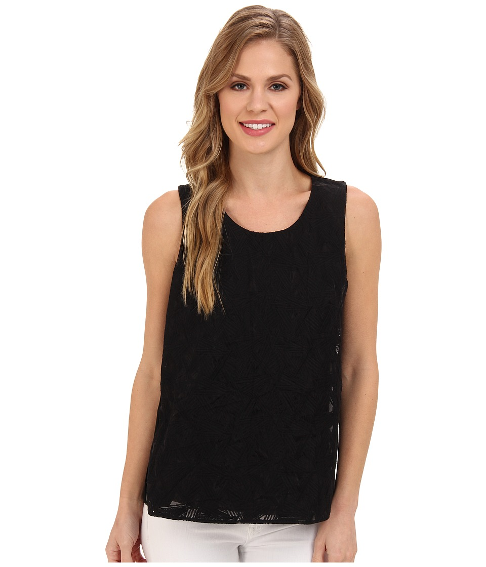 Calvin Klein - S/L Embroidered Top (Black) Women's Sleeveless