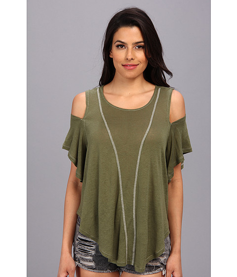 Free People - Cold Shoulder Seamed Top (Olive) Women