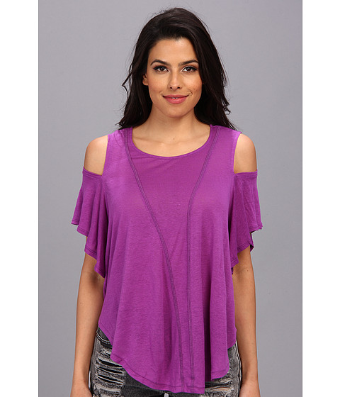 Free People - Cold Shoulder Seamed Top (Paradise Purple) Women's Blouse