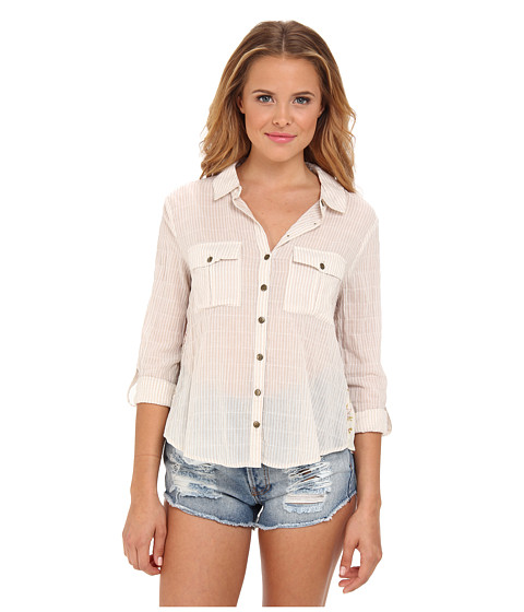 Free People - Party In Back Top (Stone Combo) Women's Blouse