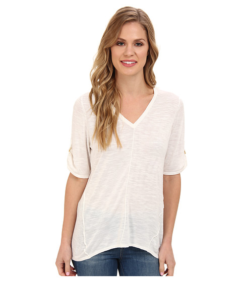 Calvin Klein - S/S V-Neck Sweater w/ Hardware (Soft White) Women's Short Sleeve Pullover