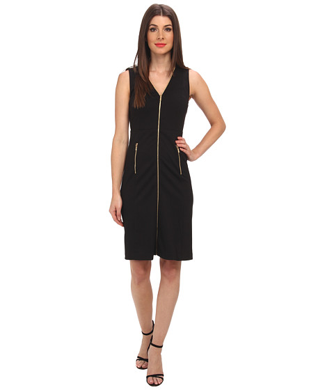Calvin Klein - Fit Flare Dress w/ Zip (Black) Women