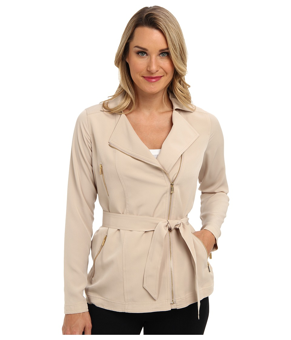 Calvin Klein - Moto Jacket w/ Waist Belt (Latte) Women
