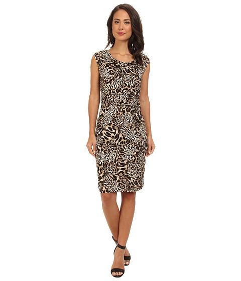 Calvin Klein - Print Cowl Neck Short Dress (Beige Multi) Women
