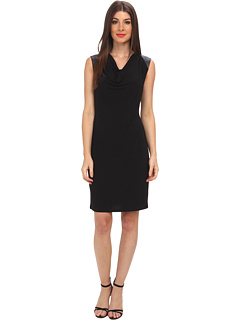 SALE! $55.99 - Save $44 on Calvin Klein Sleeveless Cowl Neck Dress w Faux Leather Shoulder (Black) Apparel - 43.73% OFF $99.50
