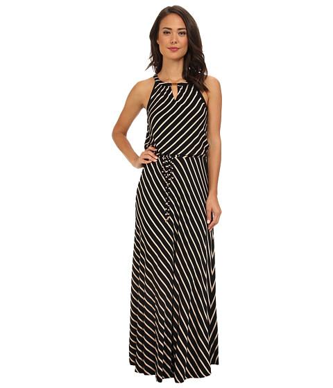 Calvin Klein - Stripe Keyhole Maxi Dress (Black/Latte) Women