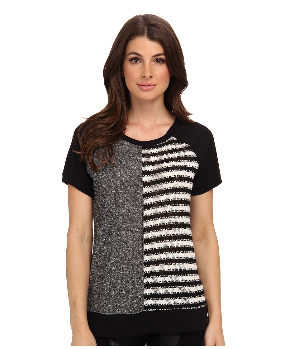 Sanctuary - Remix Tee (Charcoal/Black White) Women's Short Sleeve Pullover