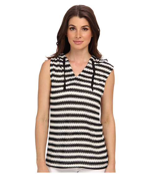 Sanctuary - Sleeveless Fawn Hoody (Black/White) Women's Sleeveless