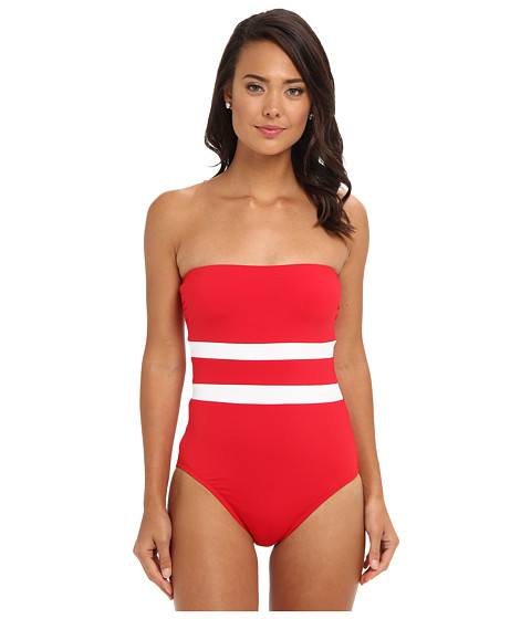LAUREN by Ralph Lauren - Match Point Seamed Strapless Bandeau Mio Top (Cherry Red) Women