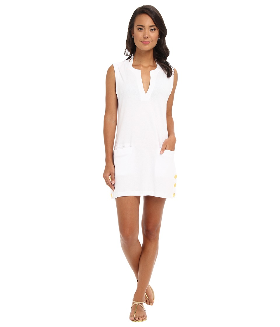 LAUREN by Ralph Lauren - Button Sleeveless Tunic Cover Up (White) Women