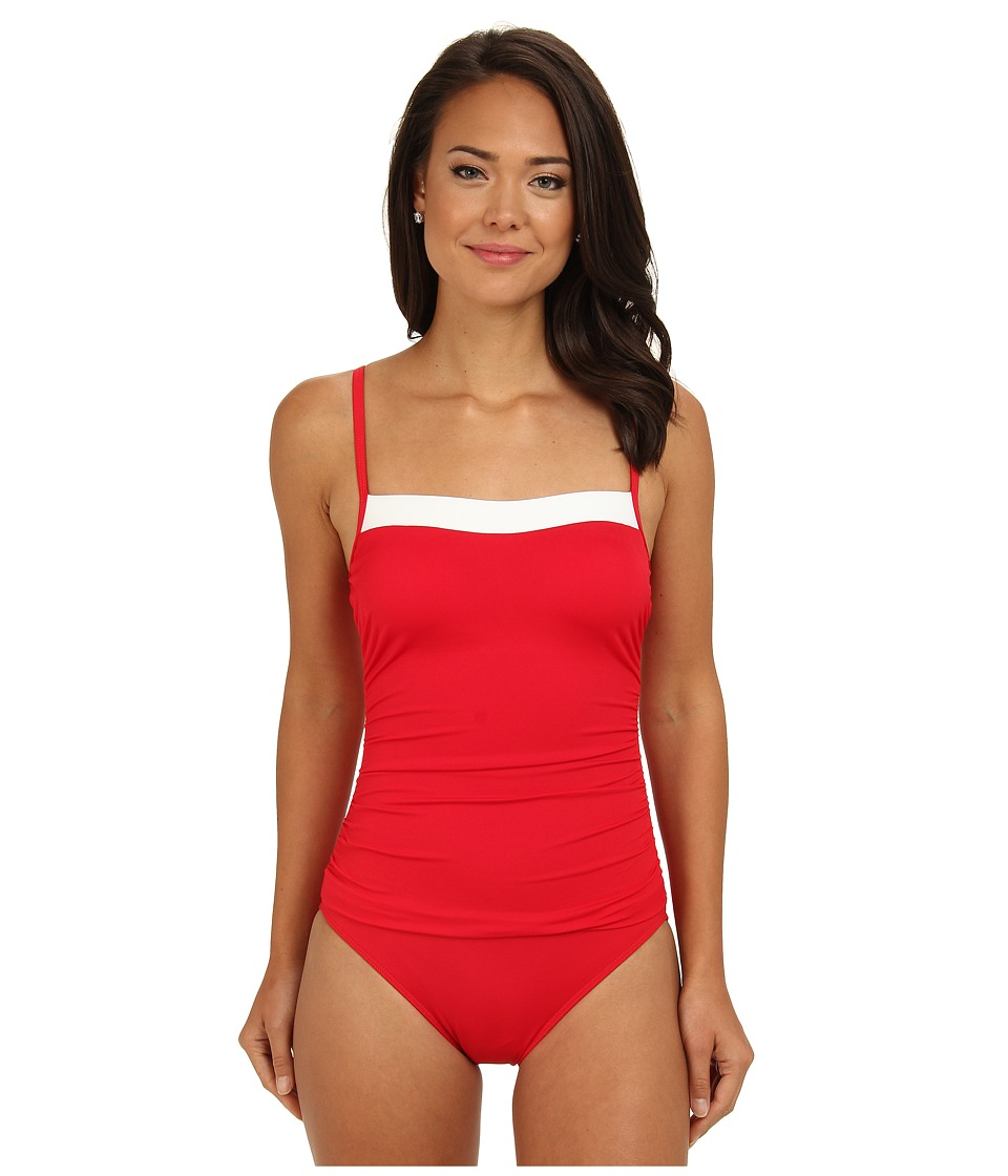 LAUREN by Ralph Lauren - Bel Aire Lingerie Mio Slimming Fit One-Piece (Cherry Red) Women's Swimsuits One Piece