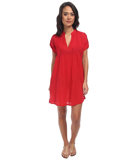 LAUREN by Ralph Lauren - Crushed Darcy Tunic Cover-Up (Cherry Red) Women