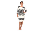 Adrianna Papell Plus Size Fitted Placed Printed Lace (Ivory)