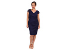 Adrianna Papell Plus Size Lace Waist Pleat Sheath (Mood Indigo)
