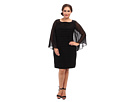 Plus Size Sheer Flared Sleeve Tuck Dress