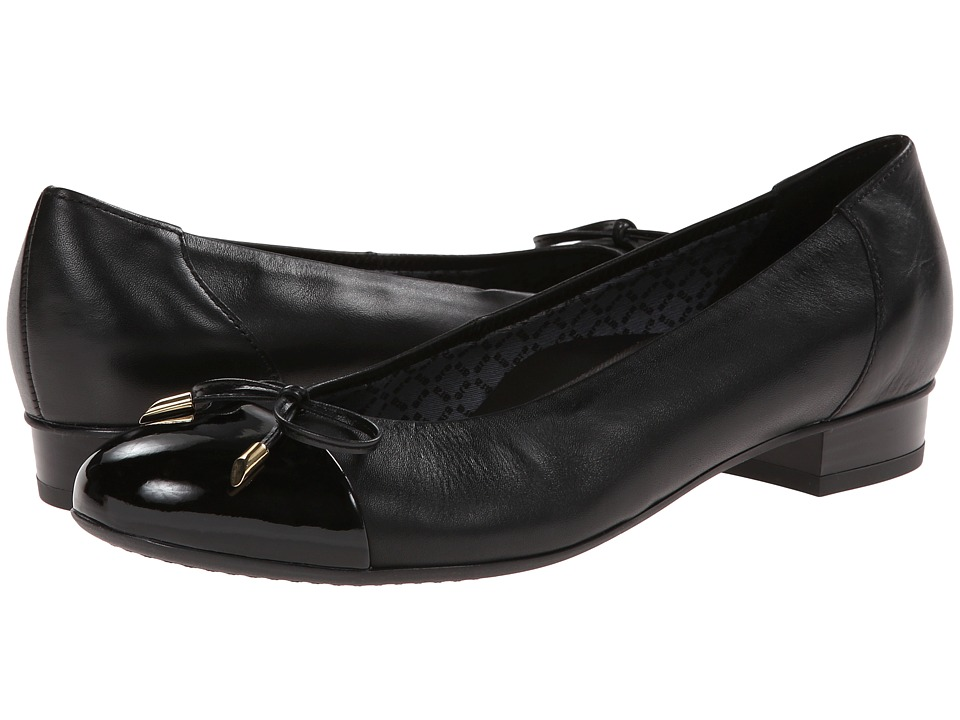 ara - Bria (Black Nappa/Patent Toe) Women's Flat Shoes