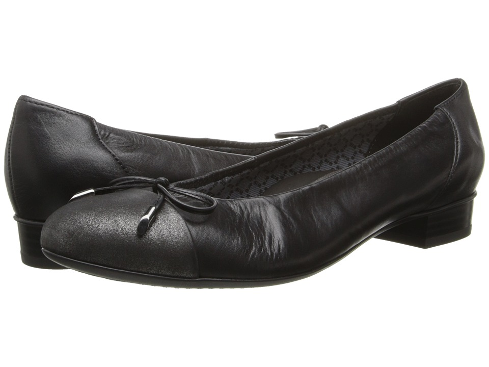 ara Bria (Black Leather/Gun Metallic Toe) Women