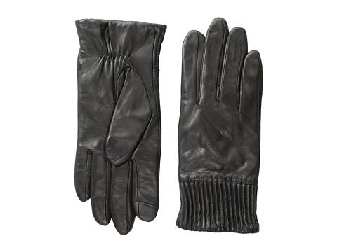 Echo Design - Echo Touch Leather Ruched Cuff Glove (Black) Dress Gloves