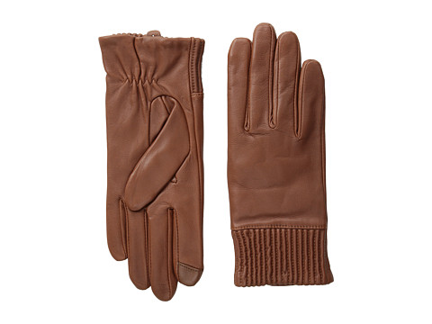 Echo Design - Echo Touch Leather Ruched Cuff Glove (Saddle) Dress Gloves