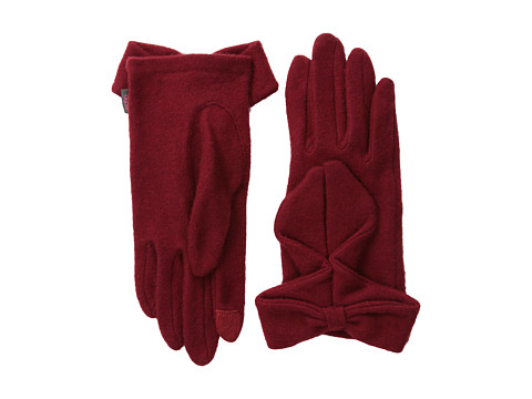 Echo Design - Echo Touch Ruffled Bow Glove (Bordeaux) Dress Gloves