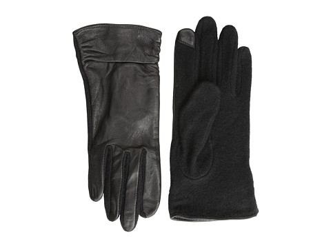 Echo Design - Echo Touch Ruched Leather Mix Glove (Black) Dress Gloves