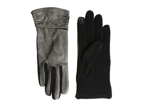 Echo Design - Echo Touch Ruched Leather Mix Glove (Metallic Gunmetal) Dress Gloves