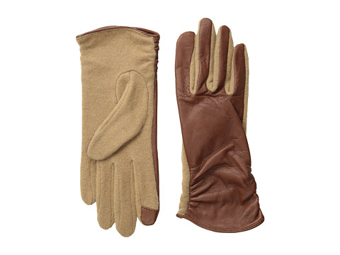 Echo Design - Echo Touch Ruched Leather Mix Glove (Saddle) Dress Gloves