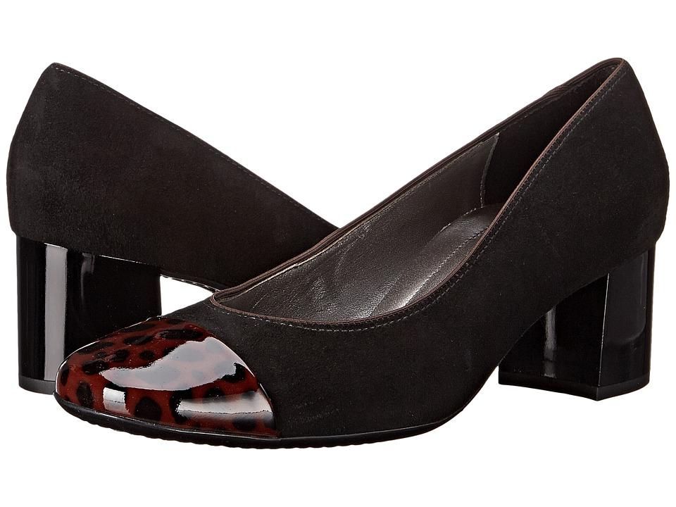 ara Lian (Black Suede/Brown Patent Toe) High Heels