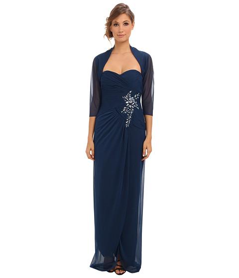 Adrianna Papell - Side Drape Gown w/ Jewel Detail w/ Jacket (Night) Women