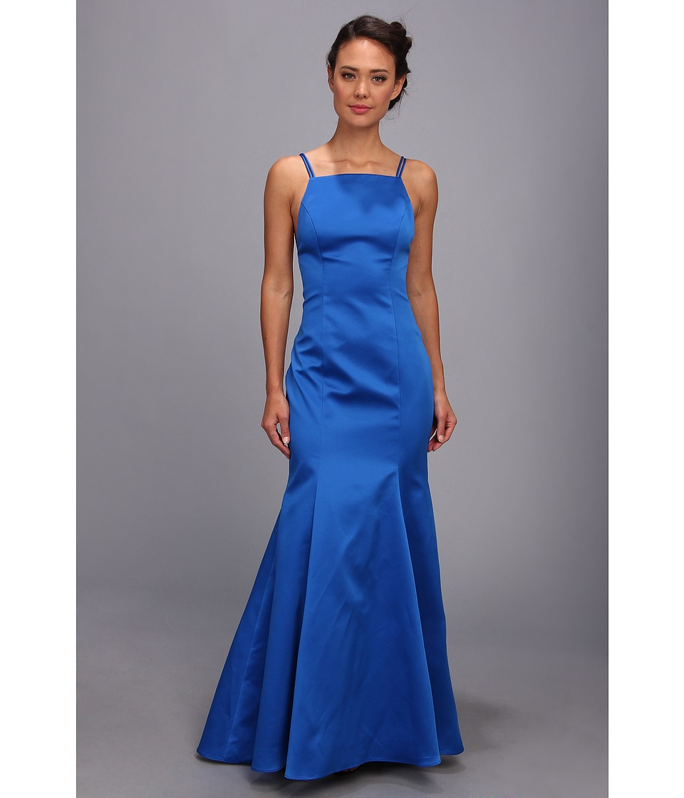 Image of ABS Allen Schwartz - Double Strap Open Back Mermaid Dress (Cobalt/Cobalt/Academy) Women's Dress