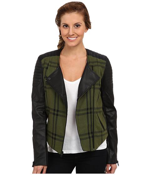 Hurley - Moto Novelty Jacket (Deepest Green Plaid) Women's Coat