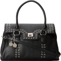 kensie Grommet Satchel (Black) Satchel Handbags