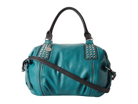 kensie Zandra Satchel (Teal/Black) Satchel Handbags