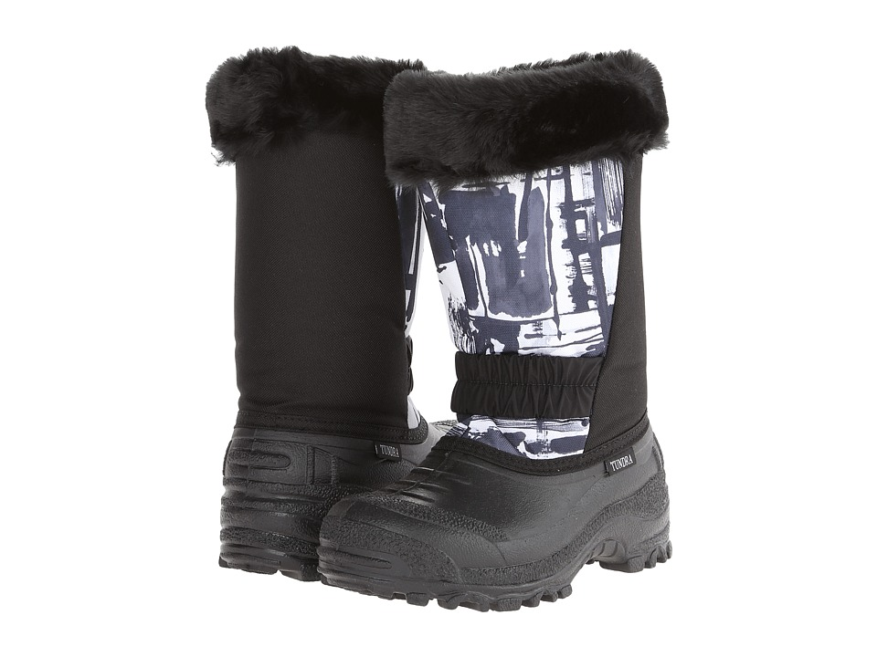 Tundra Boots Kids - Glacier Misses (Little Kid/Big Kid) (Black/White Log) Girls Shoes