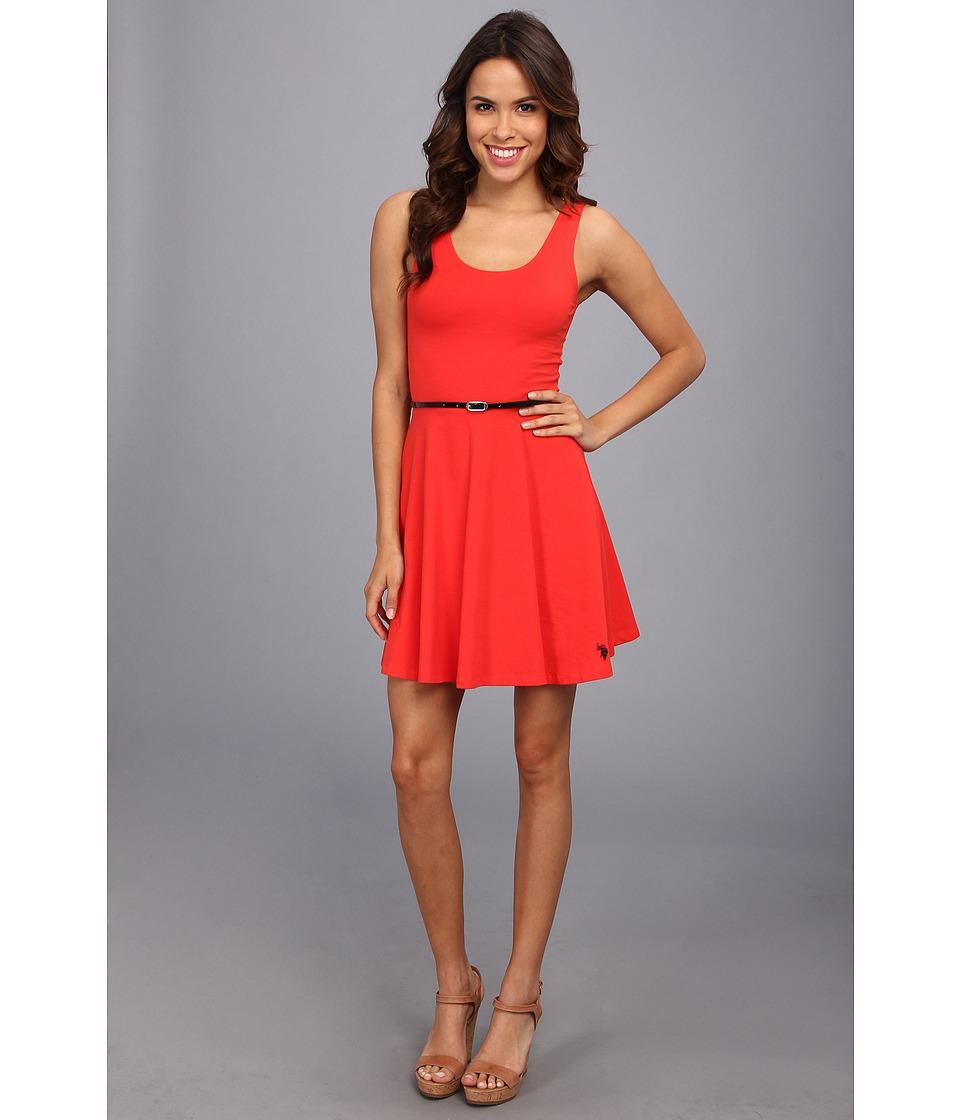 U.S. POLO ASSN. - Belted Dress (Havana Red) Women's Dress