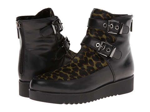 Aquatalia - Agatha (Black Calf w/ Leopard Pony) Women