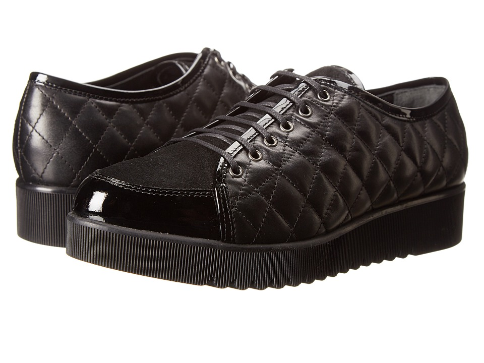 Aquatalia - Angelina (Black Quilted Calf Combo) Women's Lace up casual Shoes