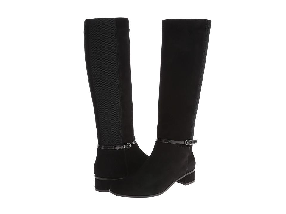 Aquatalia - Liberty (Black Suede w/ Elastic) Women's Pull-on Boots