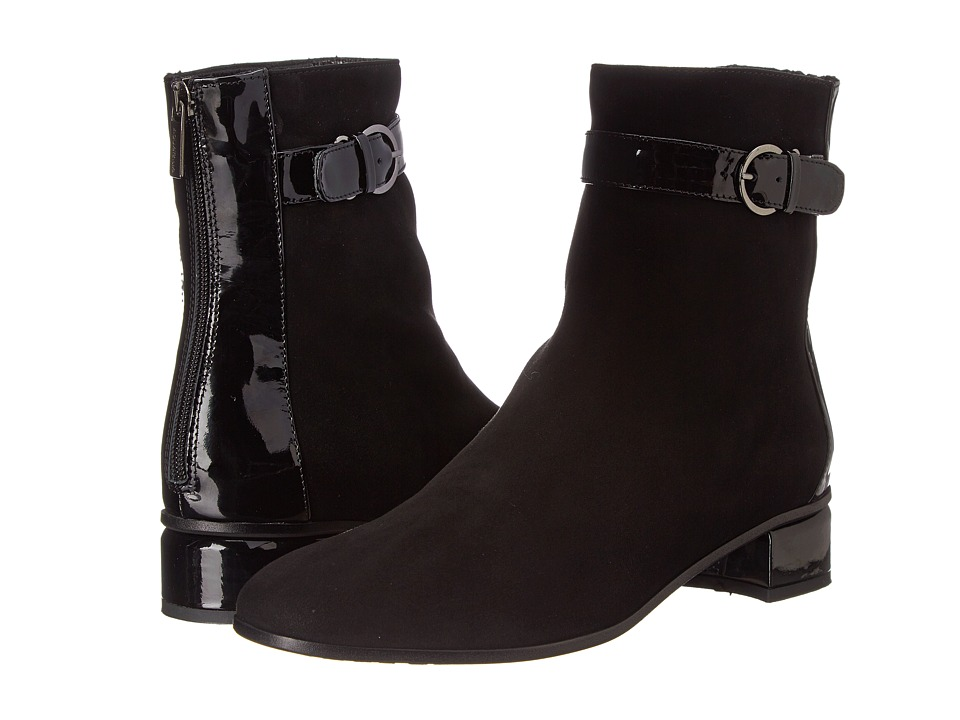 Aquatalia - Louise (Black Suede w/ Patent) Women