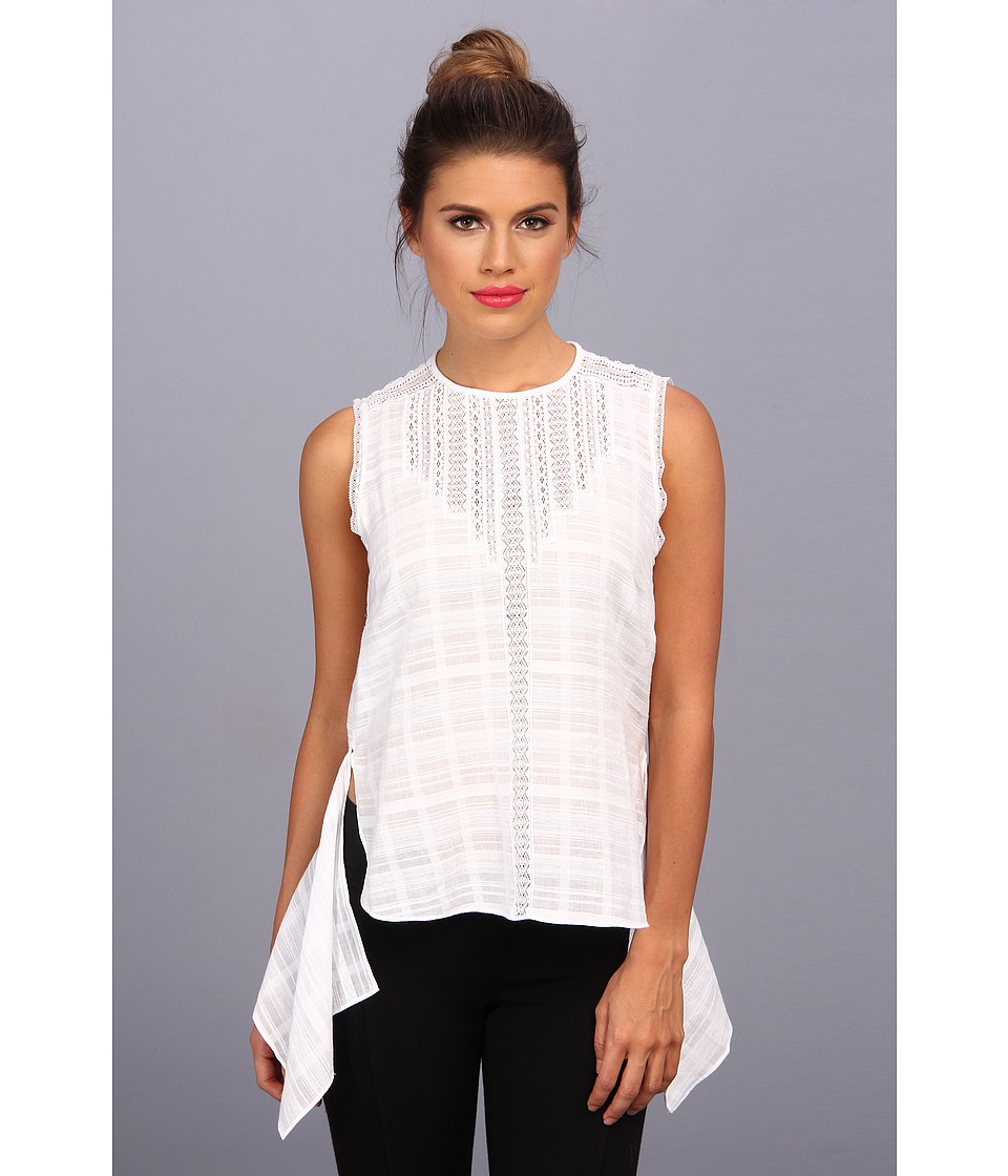 BCBGMAXAZRIA - Marci Sleeveless Top With Lace Trim (White) Women's Blouse
