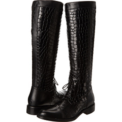 Johnston Murphy Lyla Lace Up Boot (Black Crocco Calfskin) Footwear