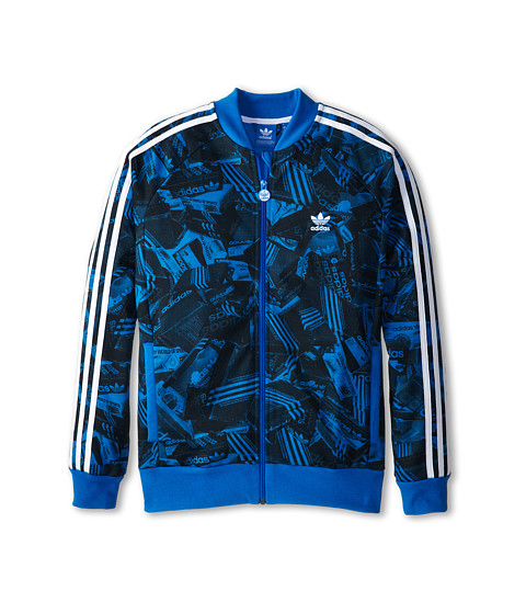 adidas Originals Kids - Junior Shoebox Fleece Track Top (Little Kids/Big Kids) (Bluebird Print/White/Bluebird) Kid