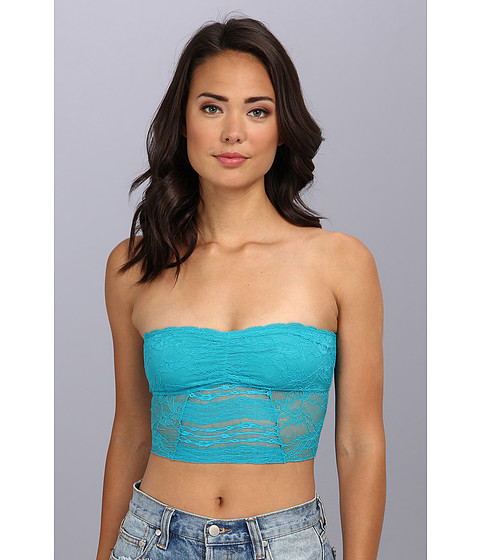 Free People - Galloon Lace Cropped Tube Top (Vivid Aqua) Women